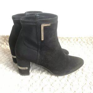 Stuart Weitzman Black Stretch + Suede Boots Heels